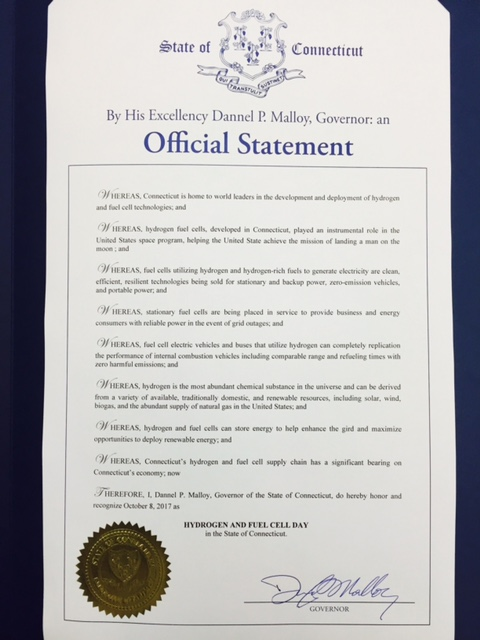 The proclamation signed by Governor Malloy.