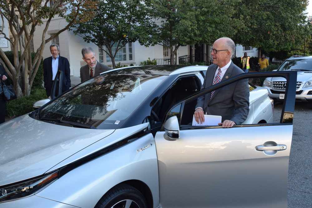Congressman Greg Walden getting behind the wheel of the Toyota Mirai Fuel Cell to drive around the Capitol.