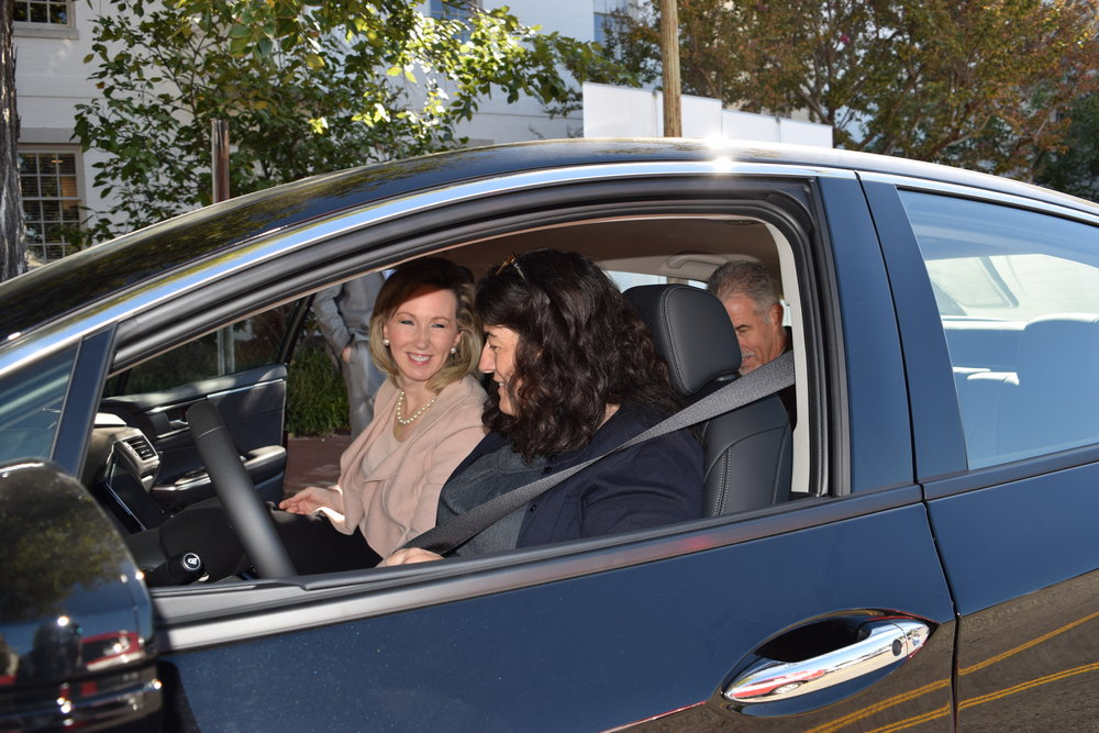 Congresswoman Comstock gets in the passenger seat of the Honda Clarity Fuel Cell to take a ride around the Capitol.