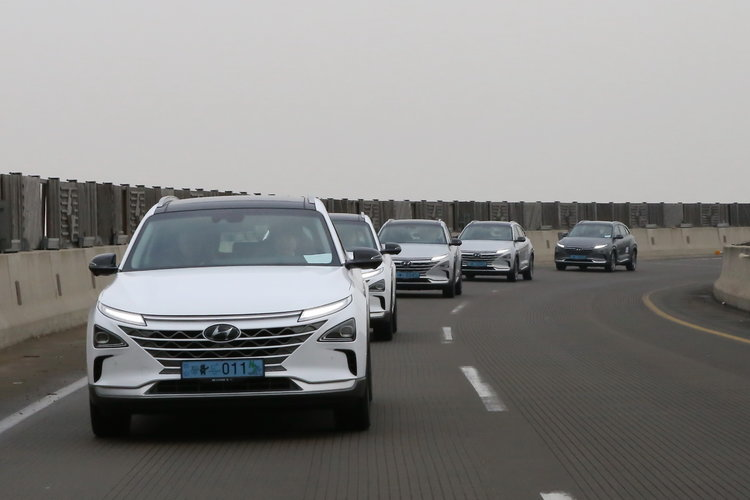 A fleet of zero-emission NEXO FCVs transports the trip delegation to Hyundai facilities in Seoul on February 9. Source: Hyundai Motor Group.