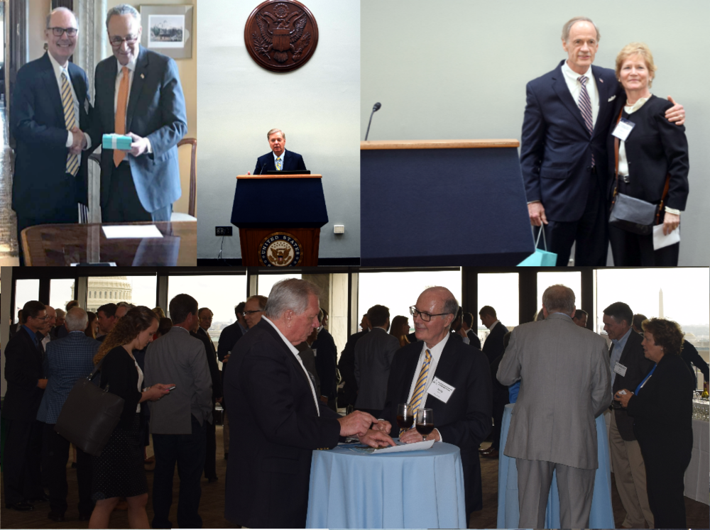 Top left: Senate Minority Leader Schumer receives his award from Plug Power CEO Andy Marsh. Top center: Senator Graham addresses the reception before receiving his award. Top right: Senator Carper with Laura Geiman of W.L. Gore after receiving his award.