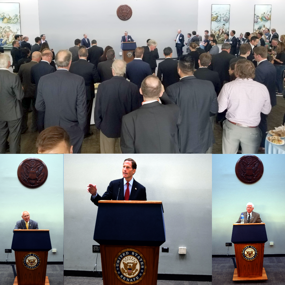 Top: FuelCell Energy CEO Chip Bottone introduces Senator Graham at the reception. Bottom: Representative Tonko (left), Senator Blumenthal (center) and Representative Larson (right) deliver remarks before receiving their awards.