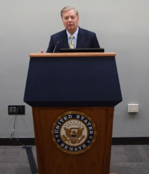 Senator Lindsey Graham speaks at the National Fuel Cell & Hydrogen Forum Capitol Hill Reception in 2018