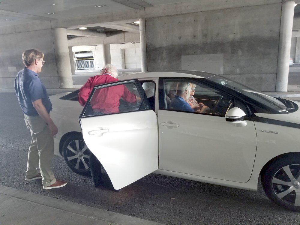 NCSL attendees getting ready to ride and drive Toyota's Mirai FCV.