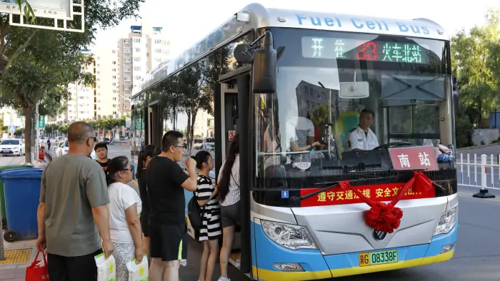 A hydrogen fuel cell bus in Zhangjiakou, northern Hebei province. Source: Financial Times