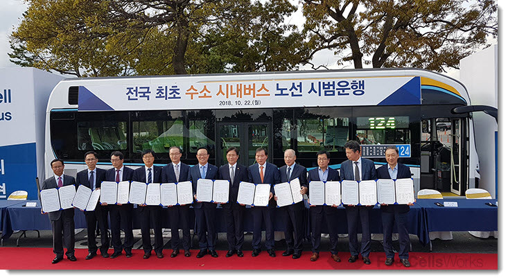 Hyundai's first commercial hydrogen-powered bus began commercial service in Ulsan in October of 2018. Source: Hyundai Motors