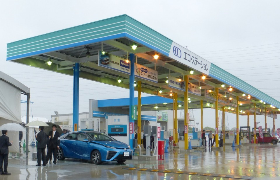 Hydrogen refueling station built by Toho Gas Co., a JHyM member, in Nisshin, Aichi Prefecture. Source Kyodo News