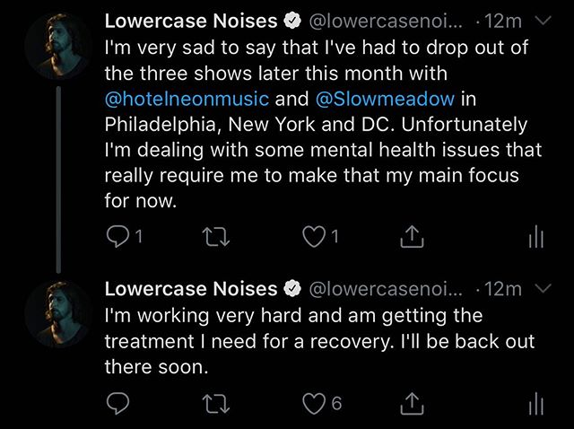 Like I said, very sad to have to drop out of these shows. Much love to @hotelneonmusic and @slowmeadow for understanding. I know the shows will still be wonderful.