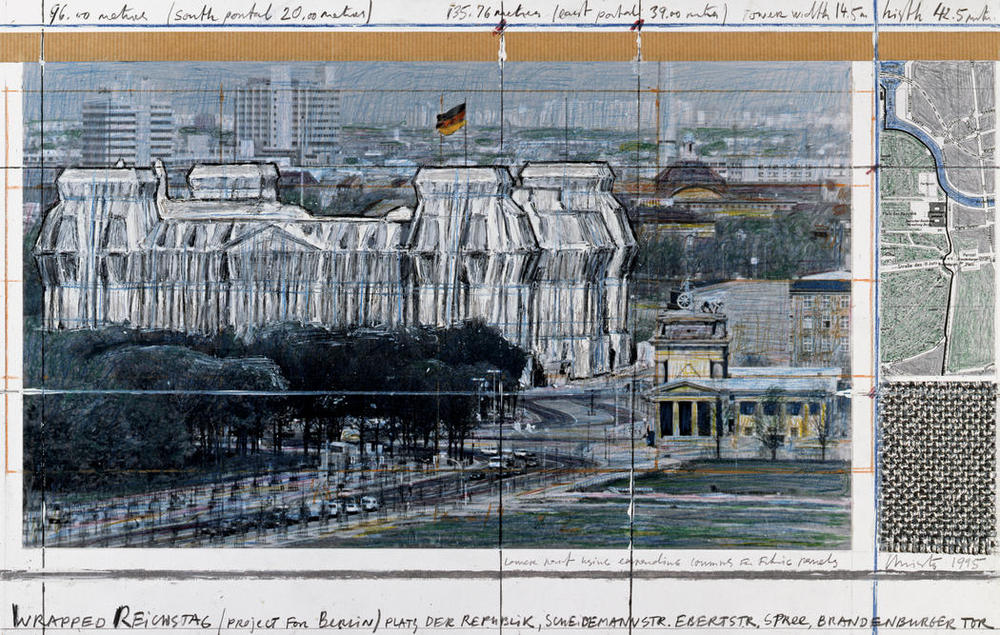 Christo and Jeanne-Claude. Wrapped Reichstag (preparatory sketch). Berlin. 1971-1995