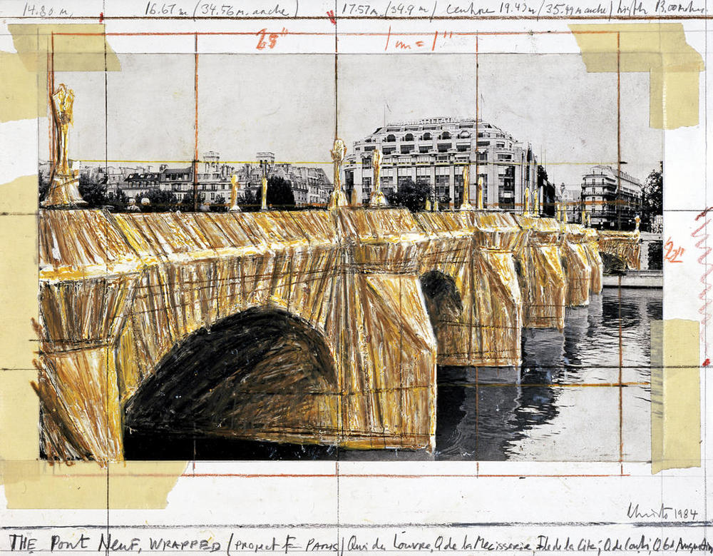 Christo and Jeanne-Claude. The pont neuf wrapped. (preparatory drawing) Paris. 1975-1985