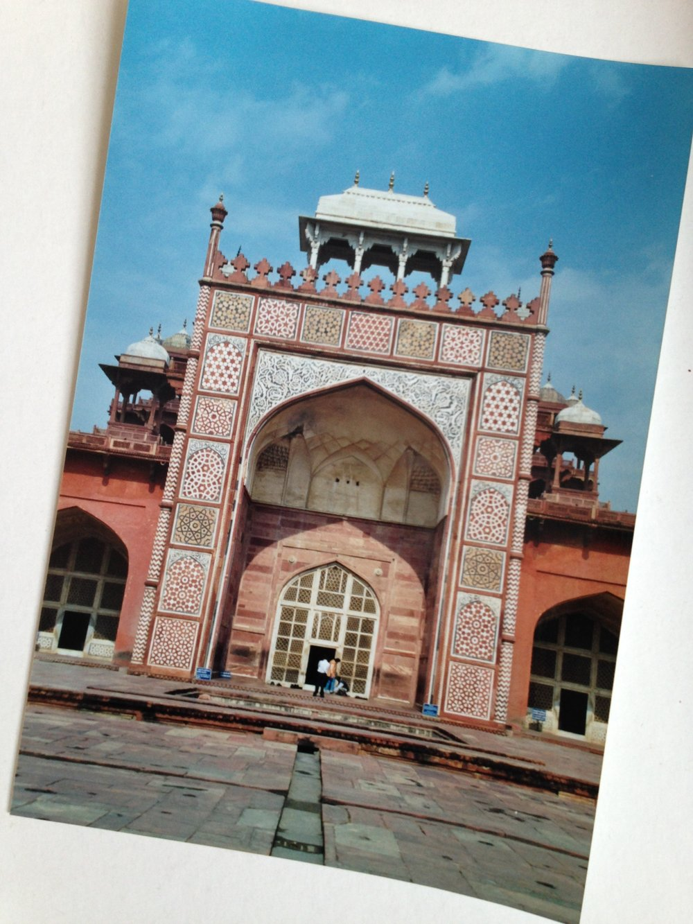 A photo of a photo, taken in 2001; Akbar's Tomb