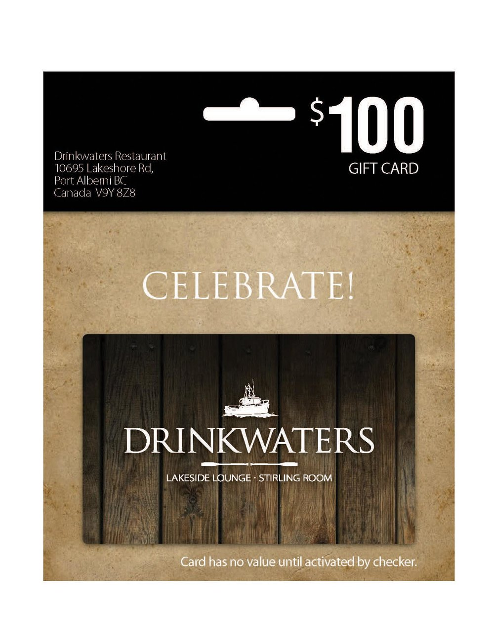 DRINKWATERS GIFT CARD - $100