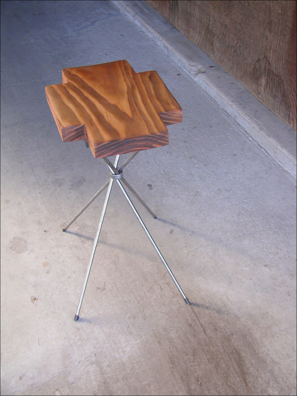 """First Aid Table: redwood, 1/4"""" steel rod, steel pipe  15"""" L x 18"""" W x 25""""H"""