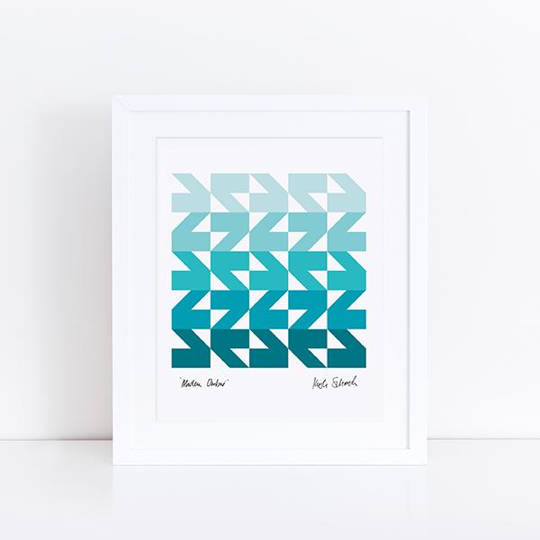 Initial K Studio Quilt Art Print - Modern Waves Ombre
