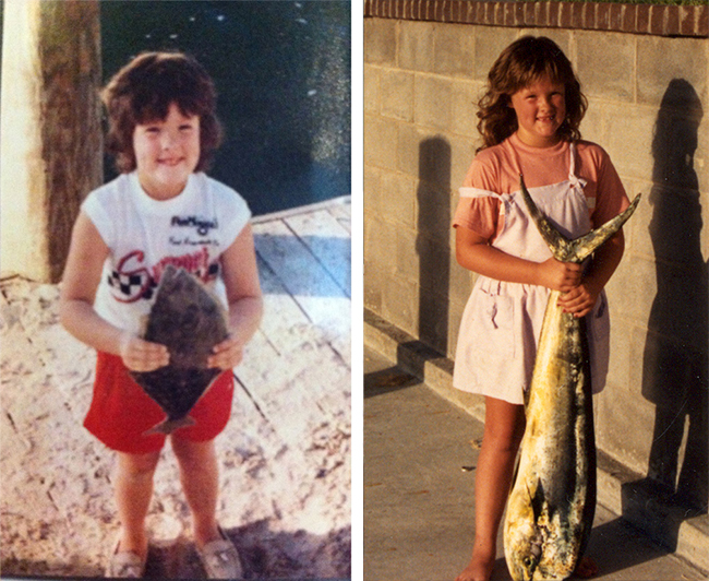 My first flounder (age 6) followed by my first dorado caught at age 8!