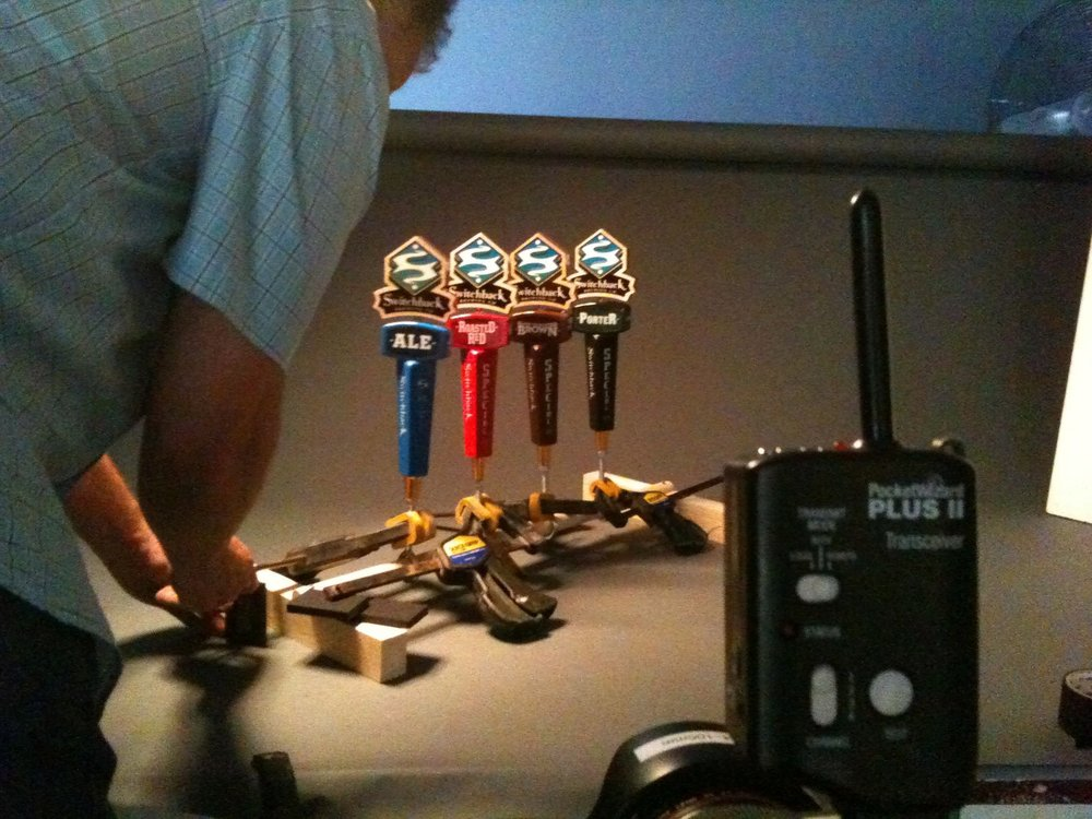 Bob Packert shoots the  Switchback  tap handles we designed.