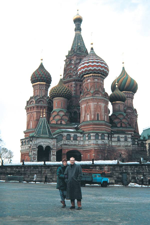 Mark and Lisa at St. Basel's Cathedral, Moscow while working for the US Information Agency's exhibit Design USA.