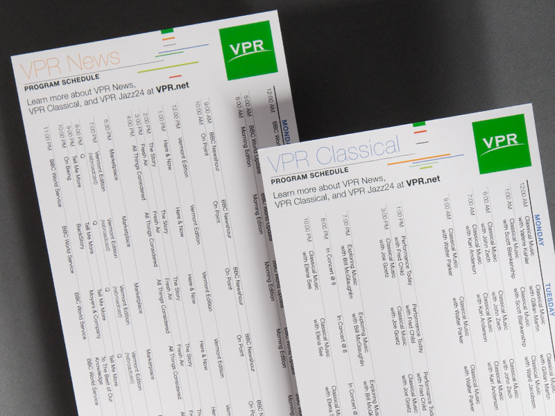 Vermont Public Radio | Schedule Cards