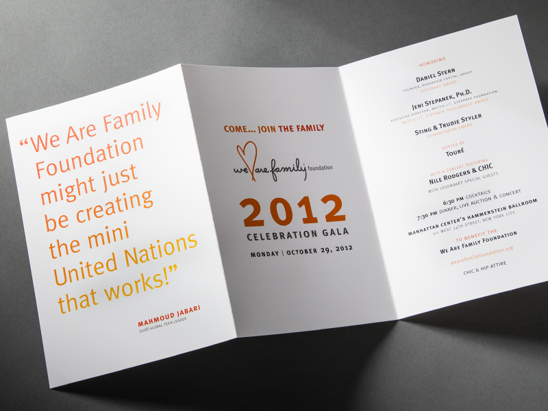 We Are Family Foundation | 2012 Celebration Gala Invitation Design