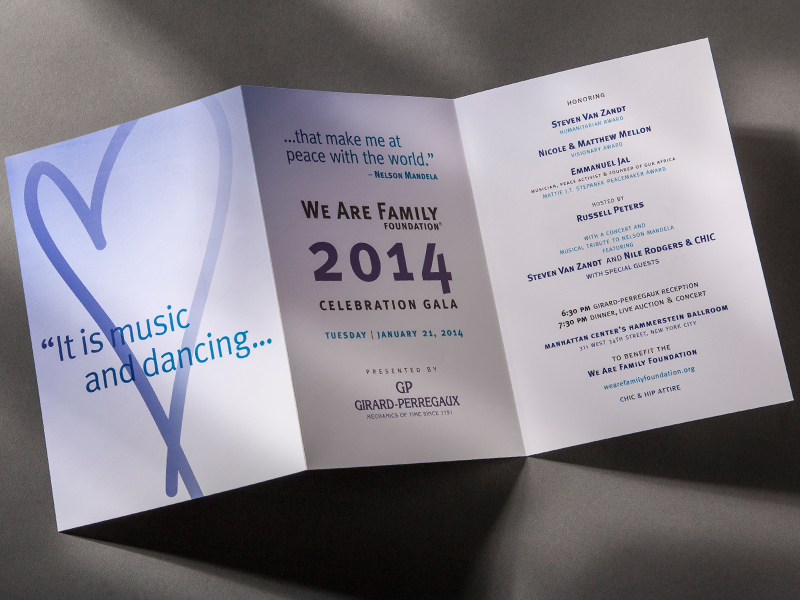 We Are Family Foundation | 2014 Celebration Gala Invitation Design