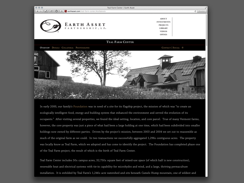 Earth Asset Partnership | Website Design Property Overview Page