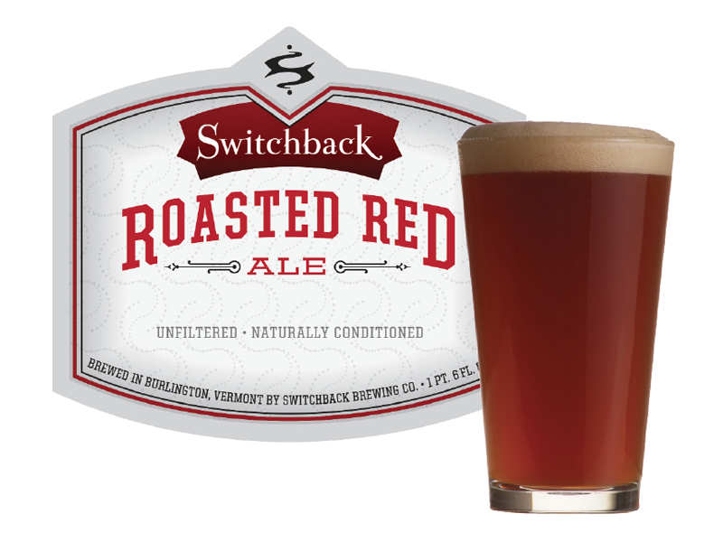 Switchback Brewing Co. | Roasted Red Ale Bottle Label Design & Pint