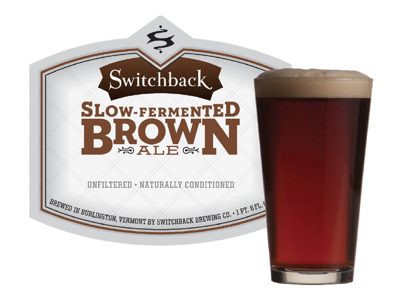 Switchback Brewing Co. | Slow-Fermented Brown Ale Bottle Label Design & Pint
