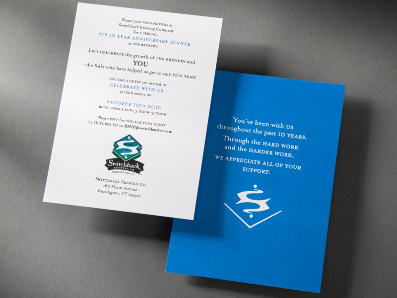 Switchback Brewing Co. | 10 Year Anniversary Vendor Party Invitation Design