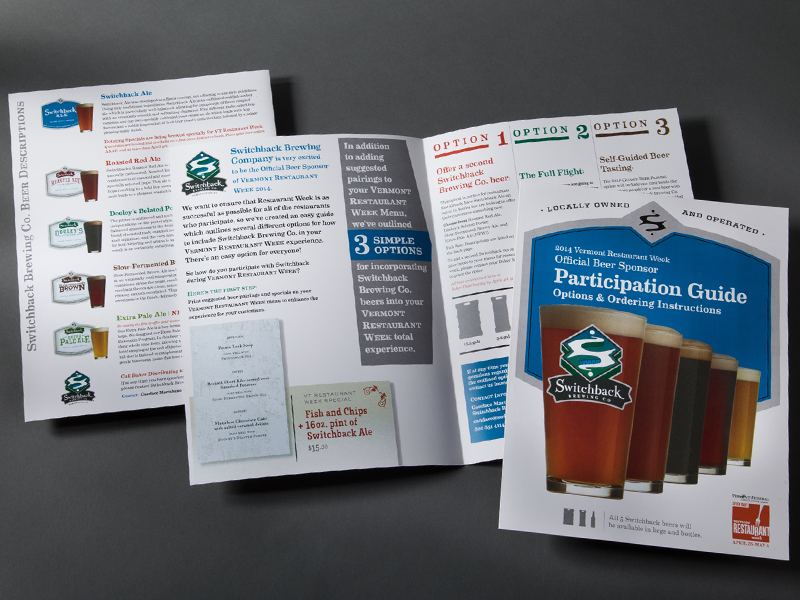 Switchback Brewing Co. | 2014 Vermont Restaurant Week Participation Guide Design