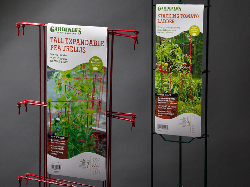Gardener's Supply Company | Tall Pea Trellis & Stackable Tomato Ladders Retail Packaging