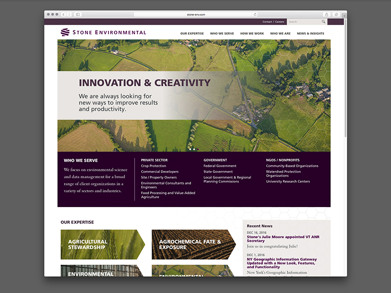 Stone Environmental Website Design |  view site