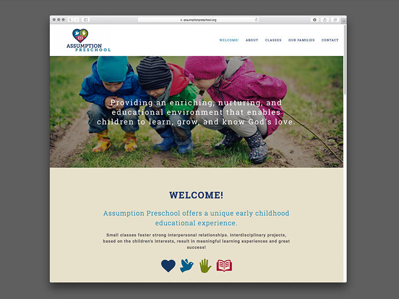 Assumption Preschool Website Design | view site