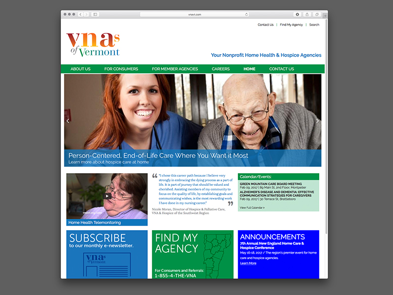VNA's of Vermont Website Design |  view site