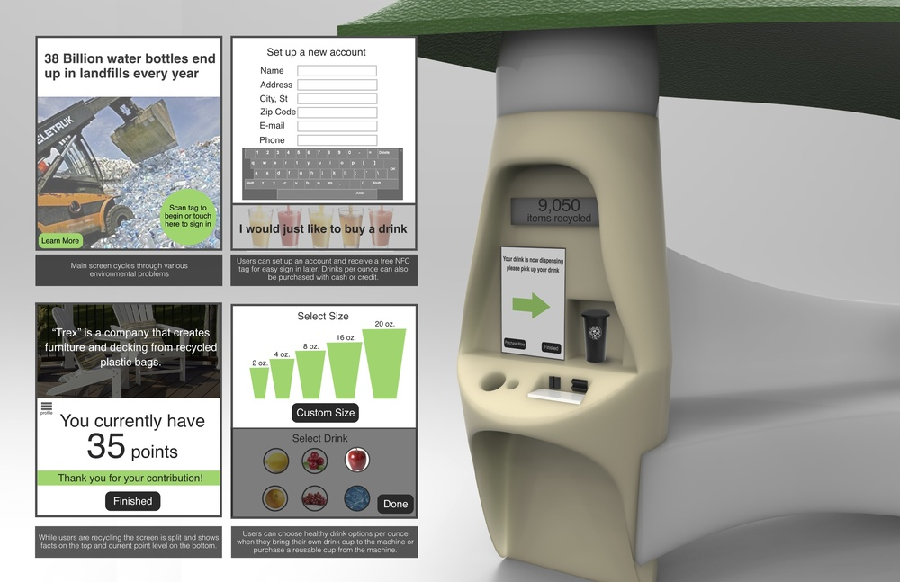 The interface of the machine teaches the user about the importance of recycling, as they get an incentive for helping the environment.