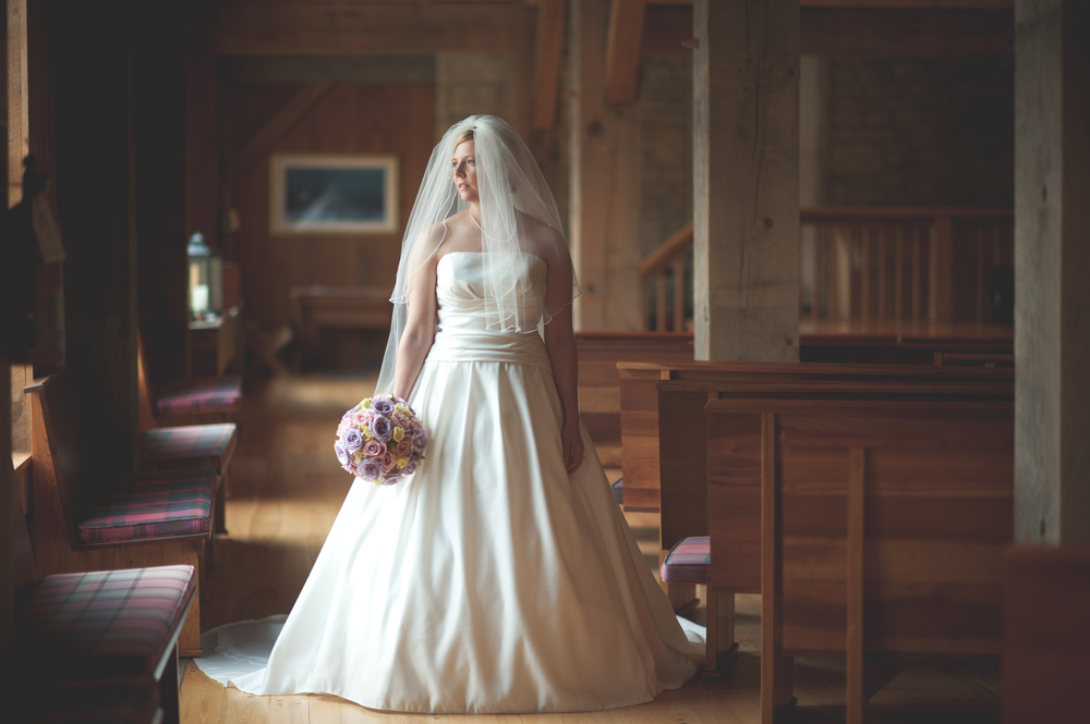 Bride's portrait at Liberty Presbyterian Church in Powell, OH