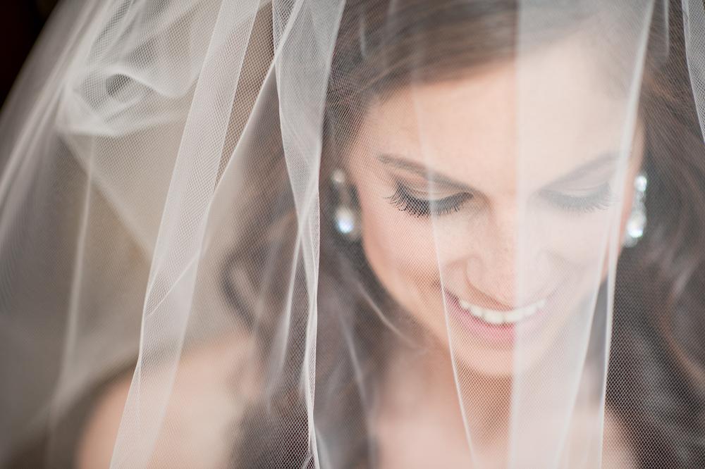 Bridal portrait through wedding veil