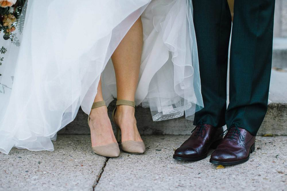 Bride and groom's wedding shoes