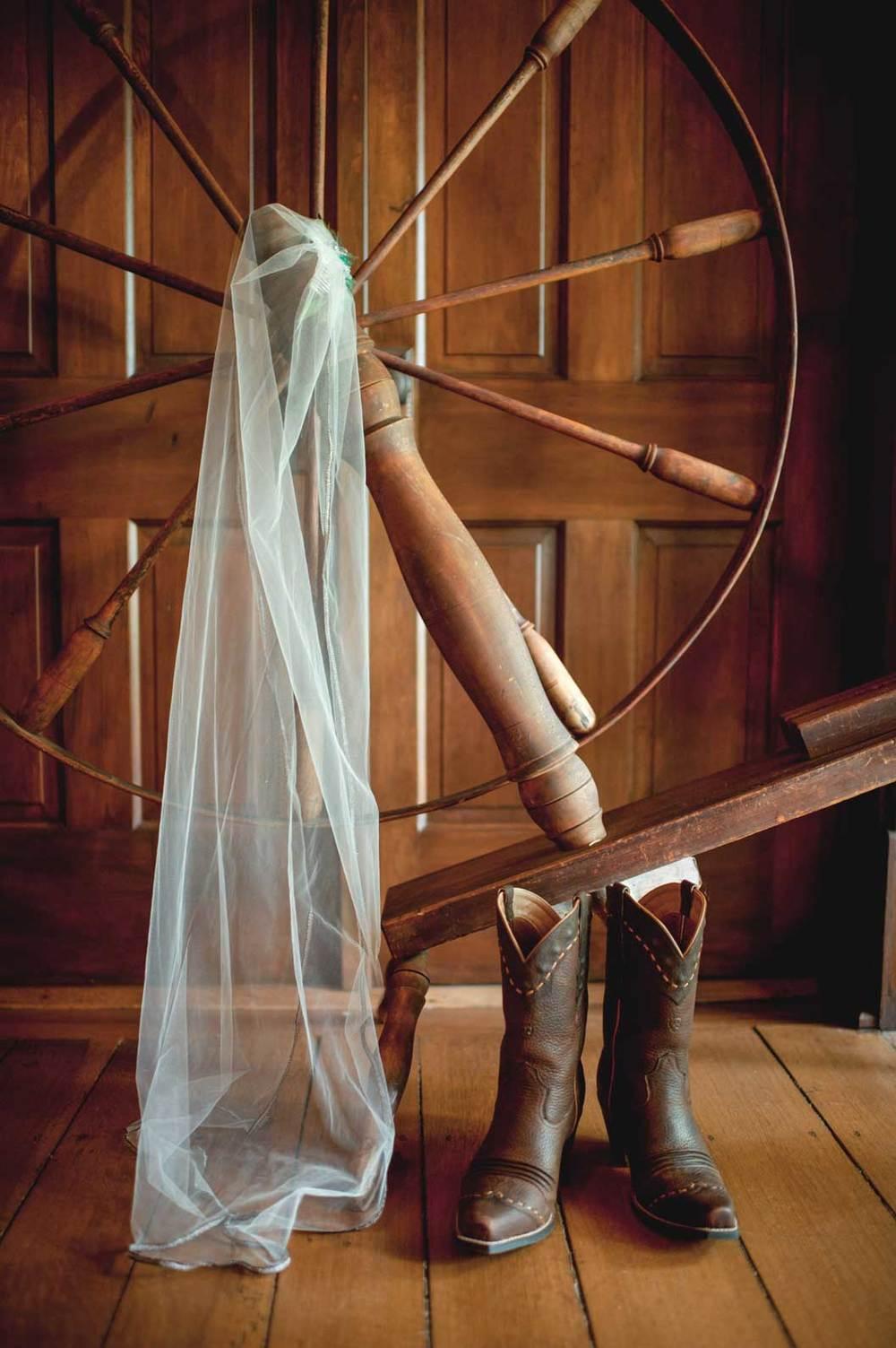 Cowboy boots and a wedding veil