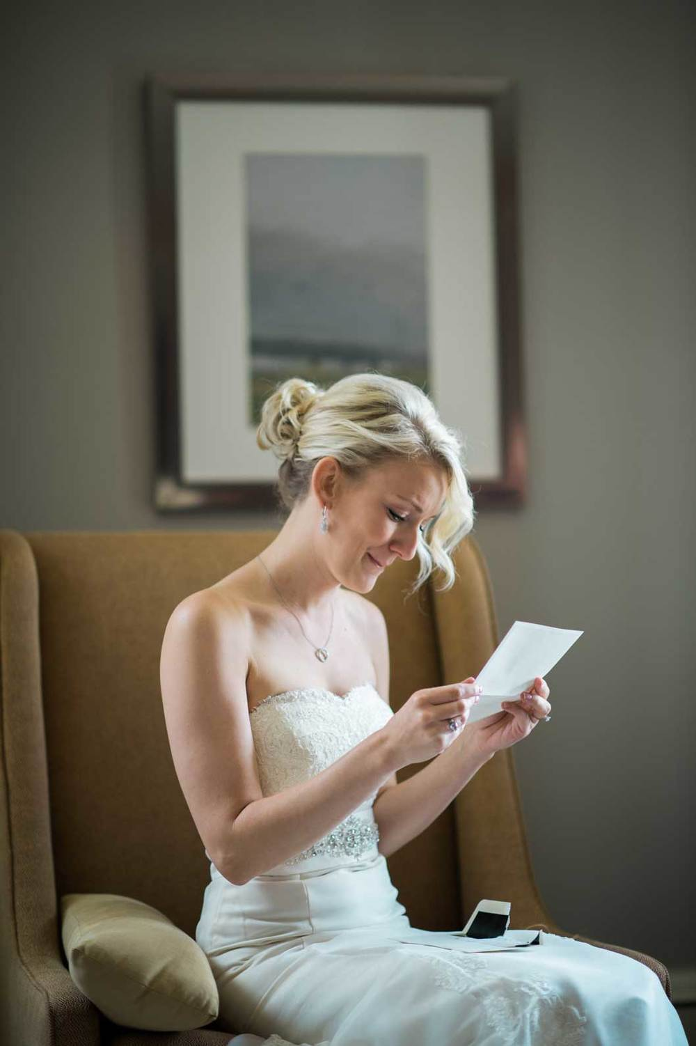 Bride reading groom's letter on their wedding day