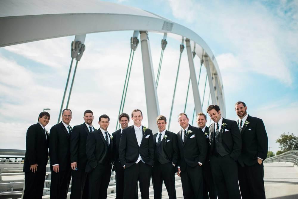 Groomsmen at the Scioto Mile in Columbus, OH