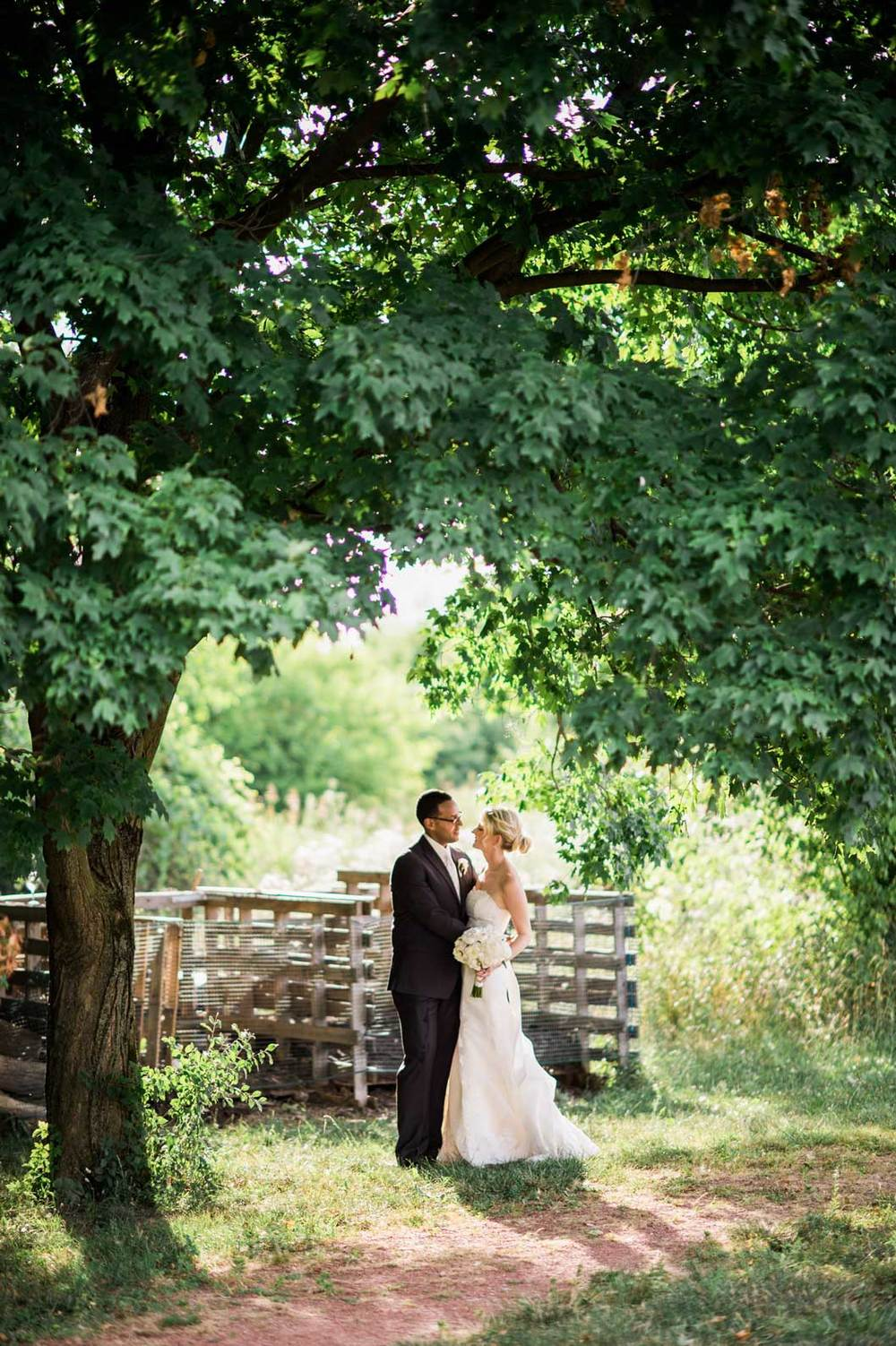 Bride and groom's sunset wedding photography at the Grange Audubon Center in Columbus, OH