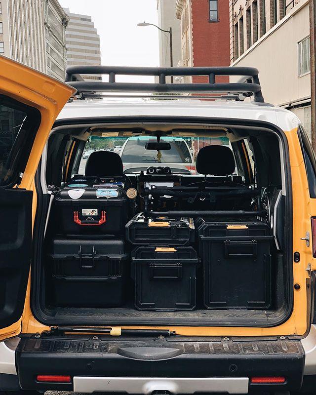 Packing it tight. Full documentary kit right here. Light/Mics/Stands/Sandbags/Tripod/Slider/ FS7/Lenses... full travel kit! #filmmaker #documentary #travel #gear #cinematography (look familiar @cavalierfilmco;)