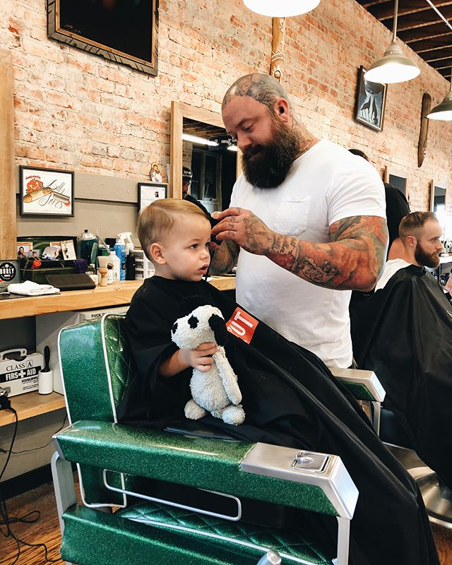 My son's first haircut. I thought my wife would be more emotional about it... but I for sure shed a tear. I hated haircuts as a kid, but definitely enjoy my time in the barbershop now. It was cool and emotional for me to take my kid to my barber for his first cut. Thanks @_billyjones. @shaylamcghee #spokane