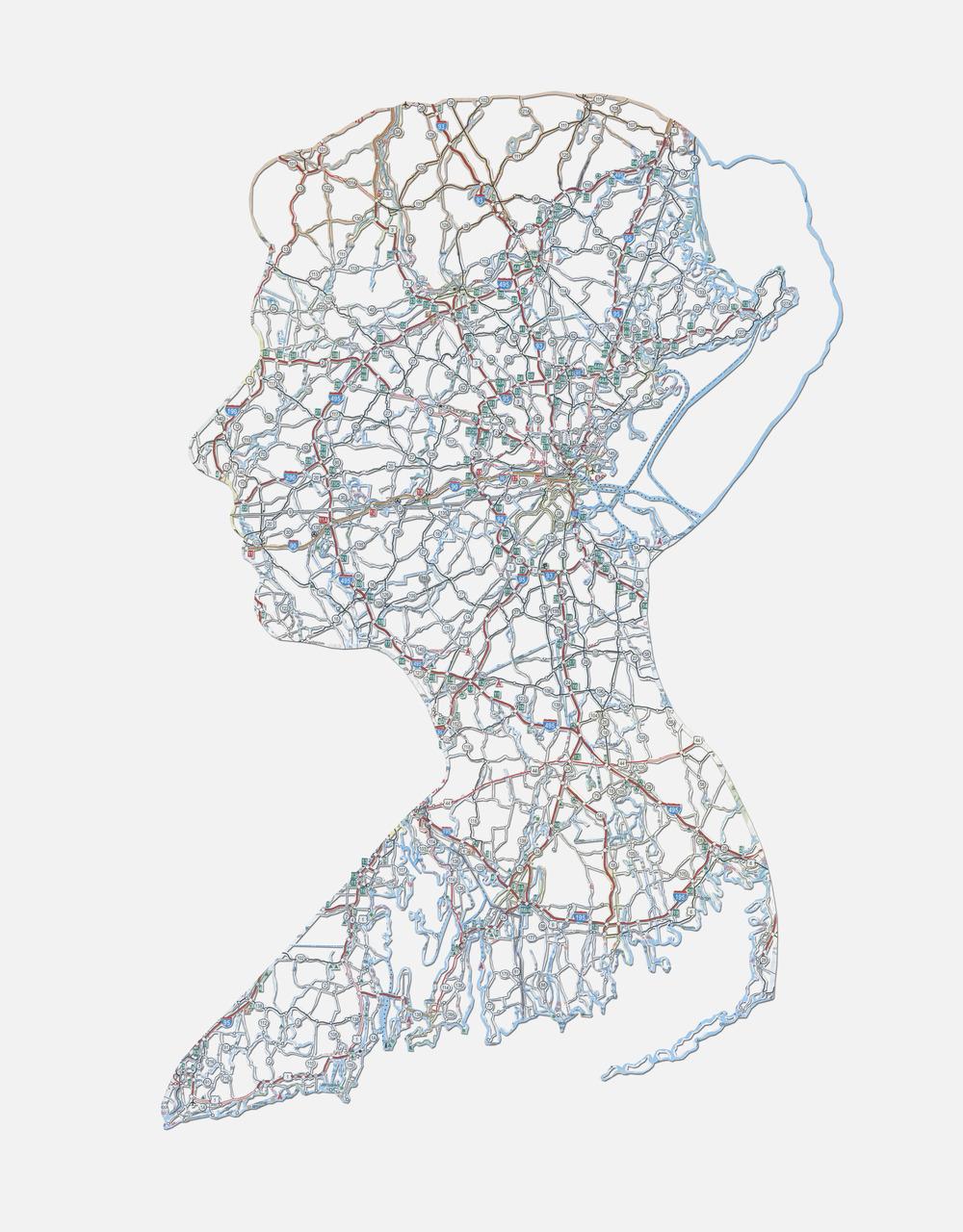 "Elyse: Falmouth, MA , 20X16"", Hand-cut road map, 2014"