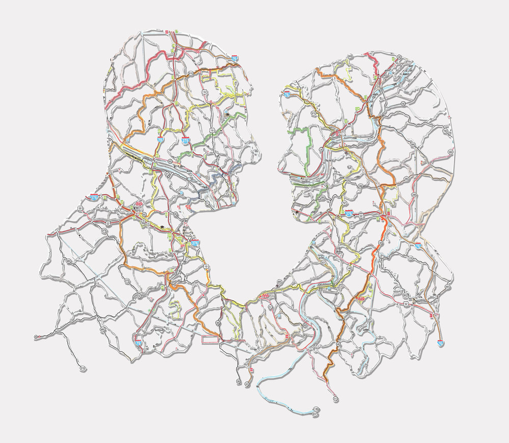 """Couple: Pittsburgh, PA , 11X14"""", Hand-cut road map, 2011"""