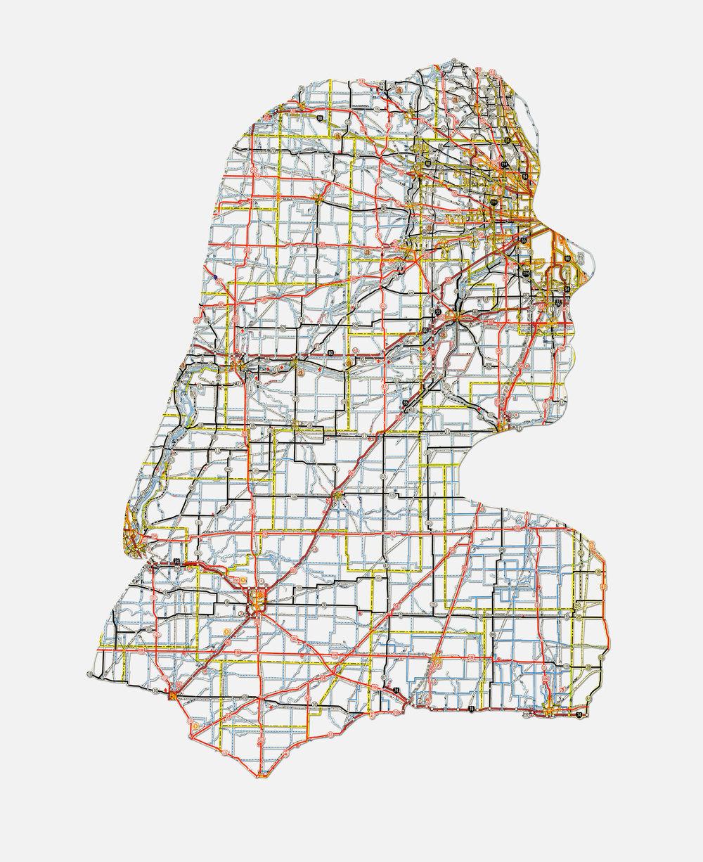 "Jennifer: Chicago, IL , 20X16"", Hand-cut road map, 2013"