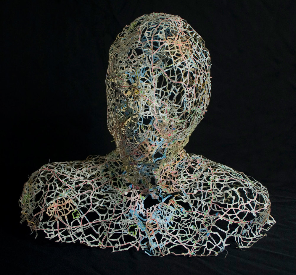 """Two Bostons , 16X16X14"""", Hand-cut road map, armature wire, 2009"""