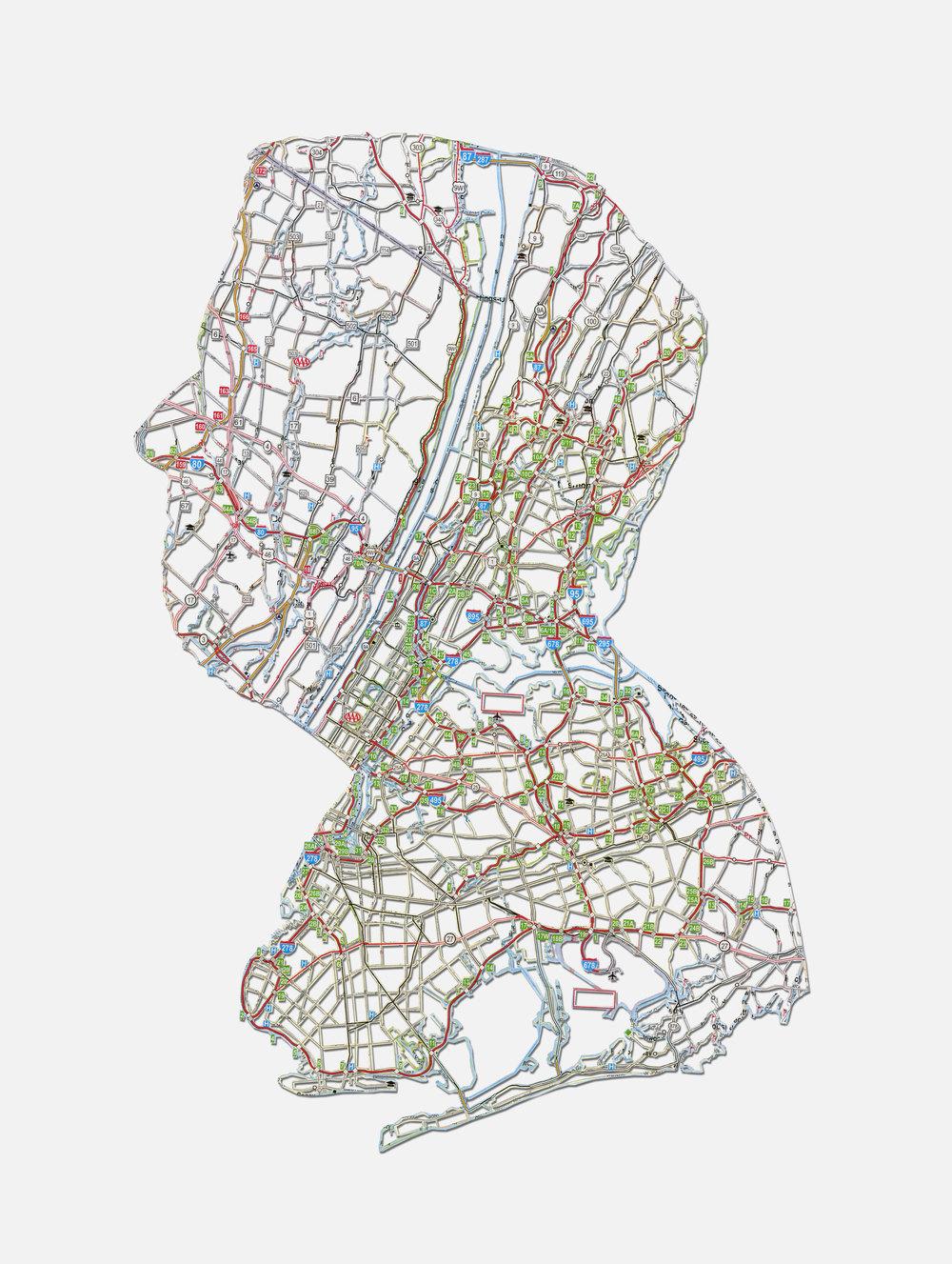 "Tom: Brooklyn, NY , 20X16"", Hand-cut road map, 2013"