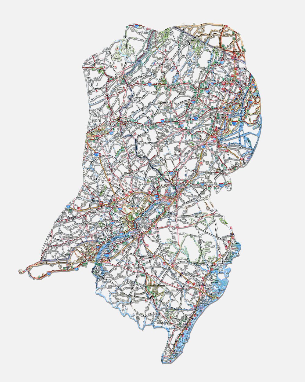 """Untitled (Self-Portrait) ,20X16"""",Hand-cut road map,2010"""