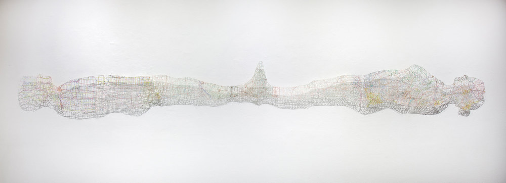 "Untitled (Connections) , 13X129"", Hand-cut road map, 2012"